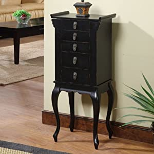 Nathan Direct Ningbo Chinese Rustic 4-Drawer Jewelry Armoire, Black, Wood