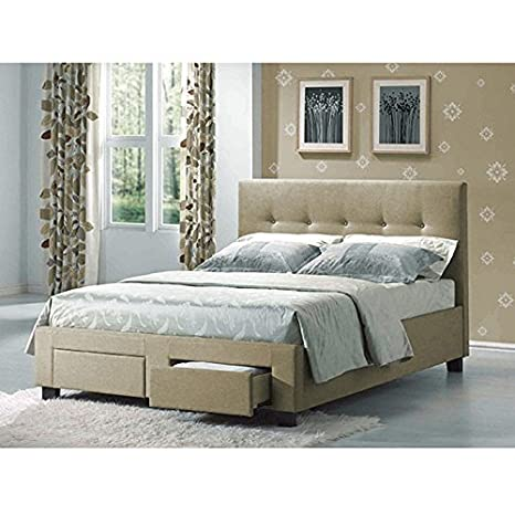 Sydney Contemporary Linen Upholstered Wooden Bed Set with Button-Tufted Headboard and Storage Drawers