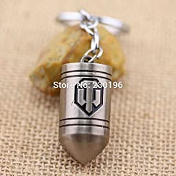 Hot Game WOT World of Tank Bullet Keychains Vintage Platinum Plated For Women and Men ring holder for car Free Shipping