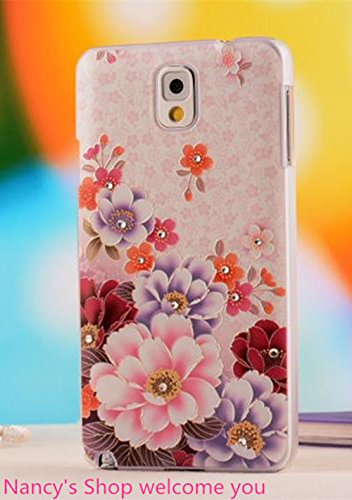 Nancy'S Shop Colorful Painting 3D Hard Cell Phone Accessories Case And Covers For Unlocked Tmobile Samsung Galaxy Note 3 Iii(Red And Blue Flower)