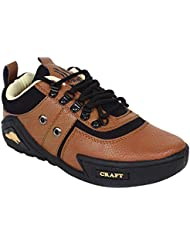 Nuke Woodcraft Tan And Black Synthetic Leather Casual Shoes For Men