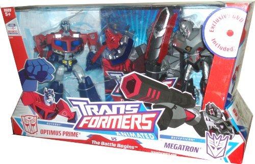 Transformers Animated - The Battle Begins: Autobot Optimus Prime vs. Decepticon Megatron Deluxe Class Action Figure Set