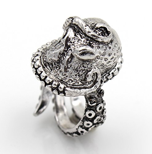 Steampunk Large Squid OCTOPUS Tentacles Wrap RING Nauctical Ocean Sea Creature Tumb slv lg