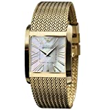 Emporio Armani Men's AR2016 Classic Mesh Goldtone Mother-Of-Pearl Dial Watch