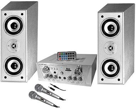 Ensemble karaoké enceintes C810-SL + ampli ATM-2000USB 100W + 2 micros