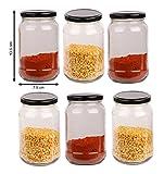 #5: Pure Source India 500 Gram Capacity Round Glass Jar With Good Black Color Cap, Set Of 6 Pcs