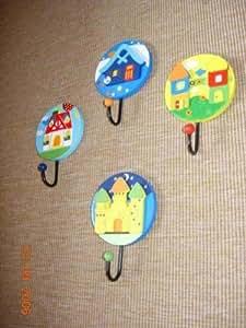 Childrens Bedroom Wall Coat Hooks x 4