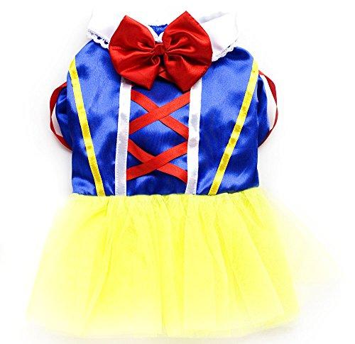 PETLOVE Snow White Small Dog Dress Princess Shirt TuTu Skirt Halloween Costume Pet Apparel XS (Snow White Dog Costume)