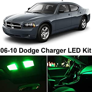 Dodge Charger 2006 2010 Green Premium Led Interior Lights Package Kit 7 Pieces