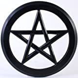 Black Wooden Pentagram Wall Plaque - 30cm