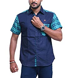 PP Shirts Men Denim Casual Shirt ( Blue L )