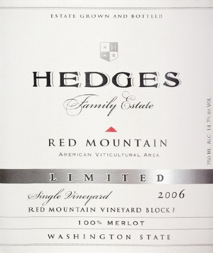 2006 Hedges Family Estate Single Vineyard Limited Merlot 750 Ml