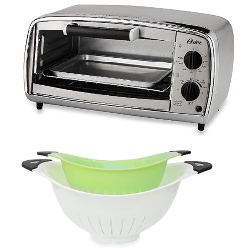Set 2 Of White And Green Colanders With Oster® 4-Slice Stainless Steel Toaster Oven