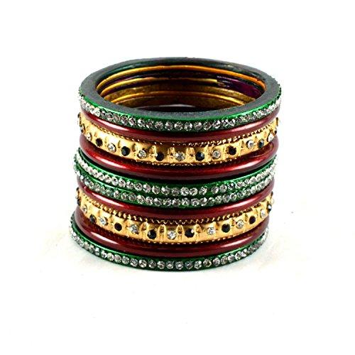 Vidhya Kangan Vidhya Kangan Dazzling Lakh Metal Bangles Set Multicolour-2.6 (Multicolor)