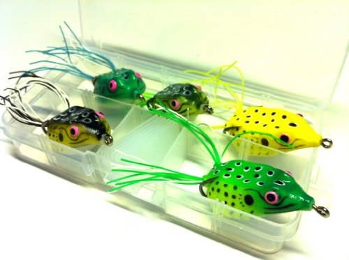 5 Hollow Body Topwater Frogs Fishing Lures Baits with Free Tackle Box 1 1/2 Inch 1/4 Oz FG62K
