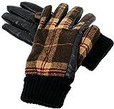 (マルカワジーンズパワージーンズバリュー) Marukawa JEANS POWER JEANS VALUE 手袋 メンズ グローブ スマホ対応 スマートフォン対応 タータンチェック PUレザー 裏ボア ビジネス 2color Free ブラウン
