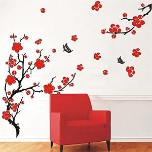 Stylish Cherry Plum Blossom Flowers Butterflies Wall