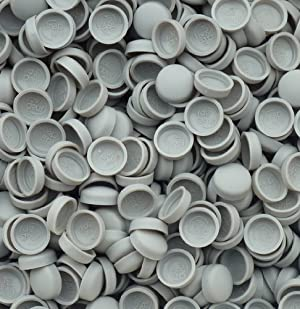 Snap-On Two Piece Dome Screw Cover Caps - Pack Of 50 Large Matt Caps & Bases : Light Grey by Snap On