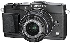Olympus E-P5 Systemkamera inkl. 14-42mm Objektiv (16 Megapixel MOS-Sensor, True Pic VI Prozessor, 5-Achsen Bildstabilisator, Verschlusszeit 1/8000s, Full-HD) schwarz
