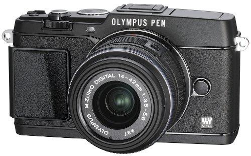OLYMPUS ミラーレス一眼 PEN E-P5 14-42mm レンズキット(ビューファインダー VF-4セット) ブラック E-P5 14-42mm LKIT BLK