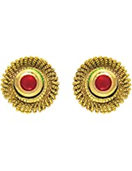 Traditional Ethnic Red Round Stud Gold Plated Dangler Earrings With Crystals For Women By Donna ER30114G