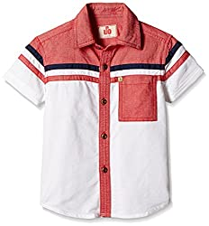 UFO Boys' Shirt (AW16-WB-BKT-225_Red and White_2 - 3 years)