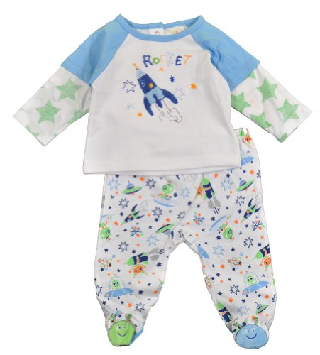 Absorba Baby-Boys Newborn Alien Footed Pant Set, Blue/White, 3-6 Months front-666146