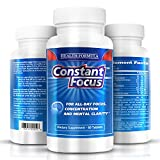 Premium Natural Nootropic Brain Health Supplement - Constant Focus Brain Booster - For All Day Memory Concentration Alertness and Mental Clarity - Powerful Bacomind Bacopa Monnieri Ginkgo Biloba Huperzine-A & Vinpocetine (60 Tablets)