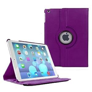 E2G Accessories Schutzhülle für iPad Air/iPad 2/3/4/5 (Standfunktion, 360° drehbar, aus PU-Kunstleder, inklusive Stylus-Eingabestift und Display-Schutzfolie), violett, iPad Air
