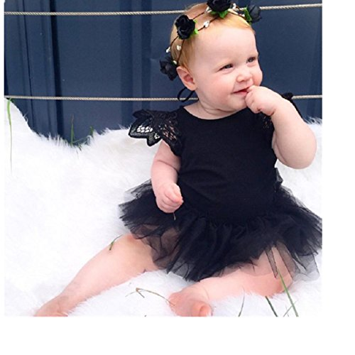 Ecosin Kids Baby Girl Infant Romper Jumpsuit Bodysuit Tutu Dress Clothes Outfit (9Month, Black)