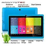 """ProntoTec 7"""" Android 4.4 KitKat Tablet PC, Cortex A8 1.2 GHz Dual Core Processor,512MB / 4GB,Dual Camera,HDMI,G-Sensor (Blue)"""