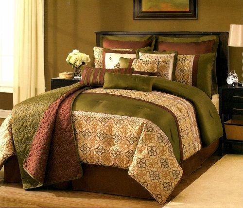 Sunham Kismet Gold, Green & Burgundy Quilted Textured 12-Piece Full Comforter Set front-728426