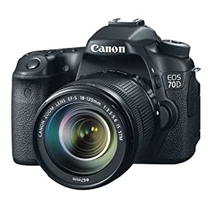 Canon EOS 70D SLR-Digitalkamera (20,2 Megapixel CMOS-APS-C Sensor, 7,7 cm (3 Zoll) TFT-Display, 0,95-fach Zoom, mini-HDMI, 3,5mm Klinke) inkl. EF-S 18-135mm Objektiv schwarz