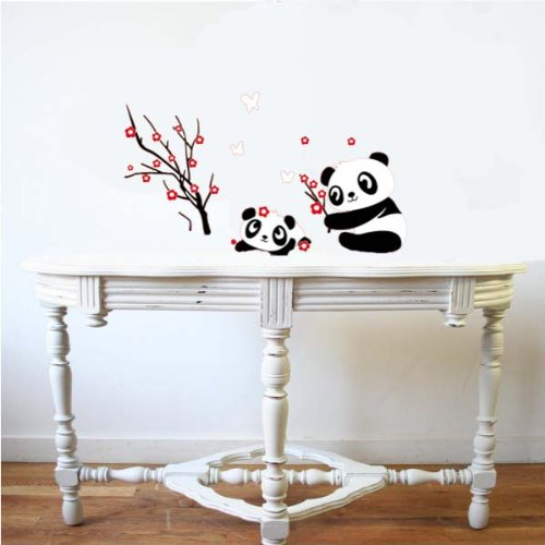 PeelCo Panda and Red Blossoming Tree Wall Decal Sticker for Home - 1