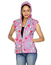 Rajrang Womens Cotton Jacket -Purple, White -Small