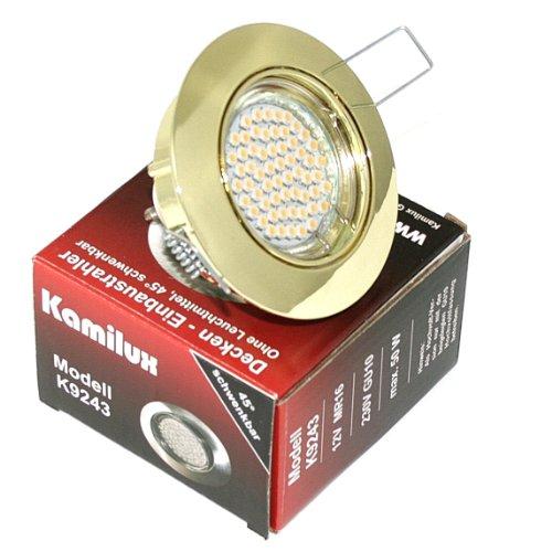 13er Set faretto da incasso Lisa 230V GU10IP20colore oro 60SMD LED bianco caldo 3Watt equivalente 30Watt Plafoniera