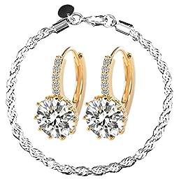 MAKIYO New Fashion Women\'s 18k White Gold Gp Clear Swarovski Rhinestone Crystal Zircon Cz Earrings with Bracelet