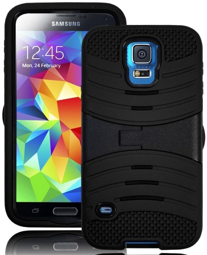 Mylife (Tm) Stealth Charcoal Black - Shockproof Survivor Series (Built In Kickstand + Easy Grip Ridges) 2 Piece + 2 Layer Case For New Galaxy S5 (5G) Smartphone By Samsung (Internal Flex Silicone Bumper Gel + Internal 2 Piece Rubberized Fitted Armor Prote