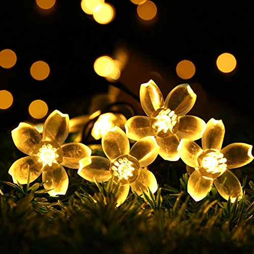 Outdoor Solar Powered String Lights,easyDecor Flower 8Mode 50 LED 23ft Warm White Waterproof Decorative Christmas Fairy Blossom Light for Indoor Party,Wedding Decorations,Patio,Garden,Tree Decor