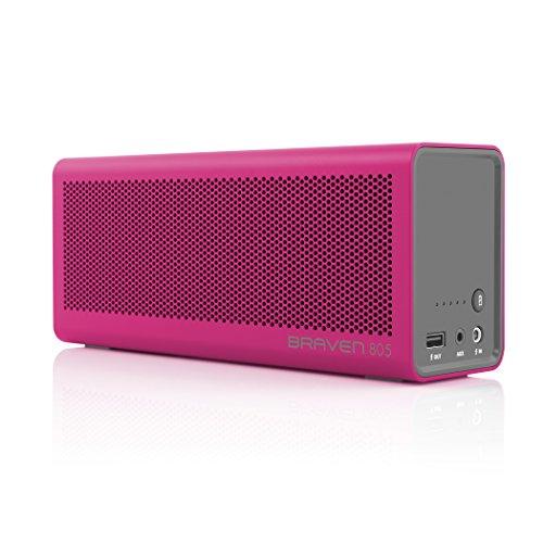 BRAVEN 805 HD tragbarer, aufladbarer Bluetooth Lautsprecher mit integriertem Akku (4.400mAh) zum Laden von Smartphones/Tablets - pink