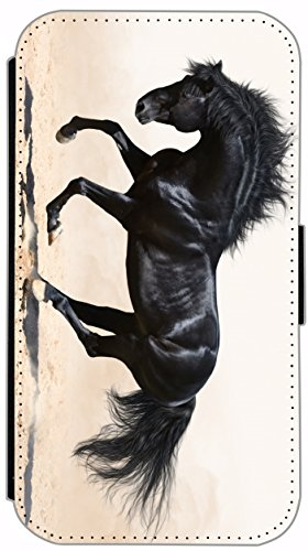 Flip Cover für Samsung Galaxy S4 i9500 Design 484 Pferd Hengst Schwarz Hülle aus Kunst-Leder Handytasche Etui Schutzhülle Case Wallet Buchflip Vorderseite Bedruckt mit Bild Rückseite Schwarz (484)