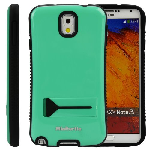 Miniturtle, Grip Armor Series Hard Phone Case Cover Bumper - Gloss Finish - With Built In Kickstand And Clear Lcd Screen Protector Film For Samsung Galaxy Note Iii (Mint Green / Black)