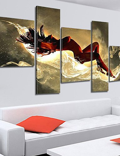 XH@G 100% Hand-painted Sexy Woman Nude Oil Painting on Canvas Naked Girl Body 5pcs/set No Frame , painting only