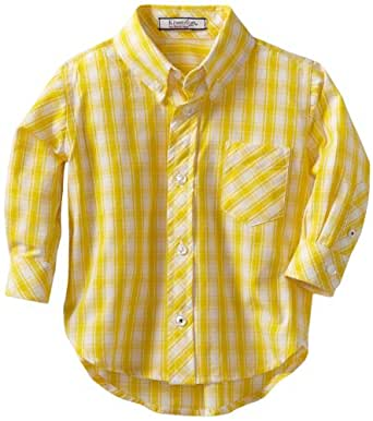 Kitestrings Baby-boys Infant Gingham Check Button Front Shirt, Yellow/White, 6-9 Months