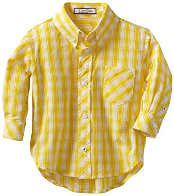 Kitestrings baby boys infant gingham check for Mens yellow gingham shirt