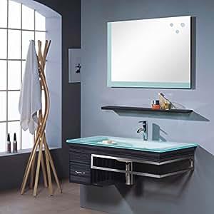 Ensemble meuble salle de bain Bari Wengé - M-70130/238 - Miroir - Vasque - Meuble sous vasque