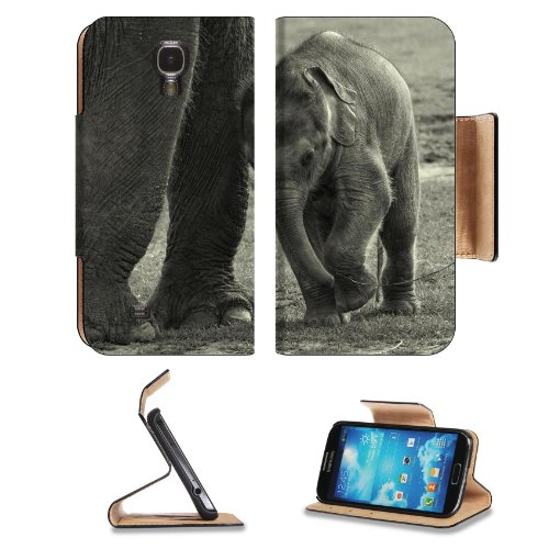 Baby Elephant Mother Animal Samsung Galaxy S4 Flip Cover Case With Card Holder Customized Made To Order Support Ready Premium Deluxe Pu Leather 5 1/2 Inch (140Mm) X 3 1/4 Inch (80Mm) X 9/16 Inch (14Mm) Msd S Iv S 4 Professional Cases Accessories Open Came