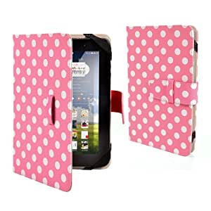 "Anladia Polka Dots Premium PU Luxury Leather Folio Flip Case Cover Protection Skin For 7"" 7 inch Android Tablet PC, Lenovo IdeaTab A2107 A2207, Lenovo A3000,A5000, Lenovo A1000 A1020, HP SLATE7 SLATE 7, NOOK HD 7"" Tablet, ARCHOS 70 COBALT, Huawei MediaPad 7 Vogue, Kobo Arc 7 HD, T-Mobile SpringBoard 7"", 7"" Inch Samsung Galaxy Tab P1000 P6200 P3100 P3113 P3110, 7"" Archos Arnova 7F G3, Kobo Vox, Kobo Arc, 7"" CAPACITIVE MULTI TOUCH ANDROID 4.0 Tablet PC ,Acer Iconia A100, Dell Venue 7, 7"" Pipo S3pro, (Length max 199 mm,min 185mm, Width max125mm, min 115mm)"