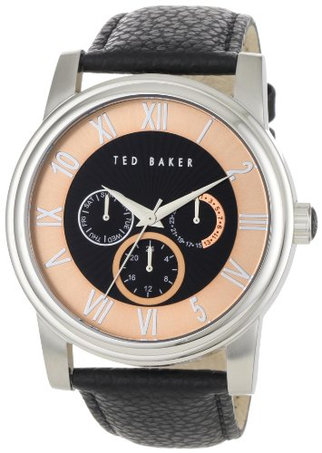 Ted Baker Men's Black Leather Strap Multi function Watch TE1070