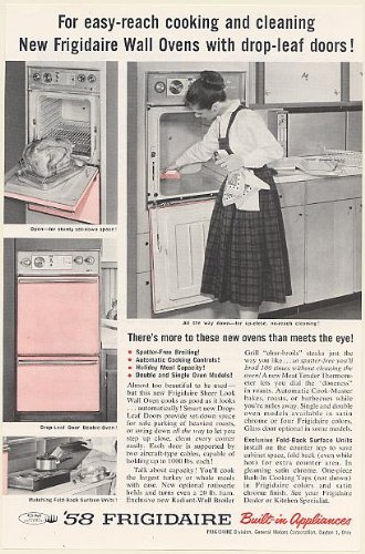 1958 Frigidaire Pink Wall Oven With Drop-Leaf Doors Print Ad (Memorabilia) (55677)